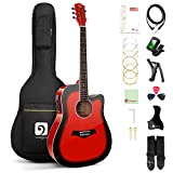 Vangoa Acoustic-Electric Guitar Full Szie 41 Inch Dreadnought Cutaway Bundle with User Manual, Glossy Red