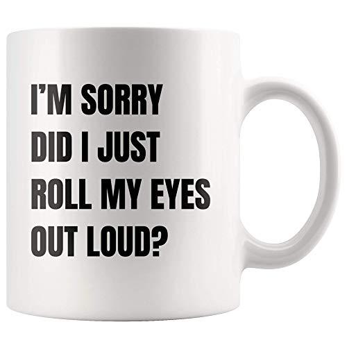 Sarkastische Meme-Tasse Es tut mir leid, dass ich gerade meine Augen herausgerollt habe. Laute Kaffeetasse Lustige Emojis-Meme-Tasse Geschenke für Büroangestellte