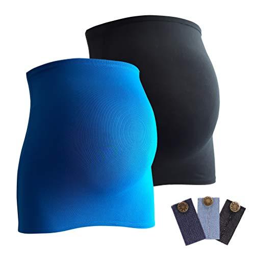 Mamaband Schwangerschaft Bauchband für die Babykugel im Doppelpack + 3erPack Jeanserweiterung – Rückenwärmer und Shirtverlängerung für Schwangere – Elastische Umstandsmode Schwarz/Aquablau 32-38