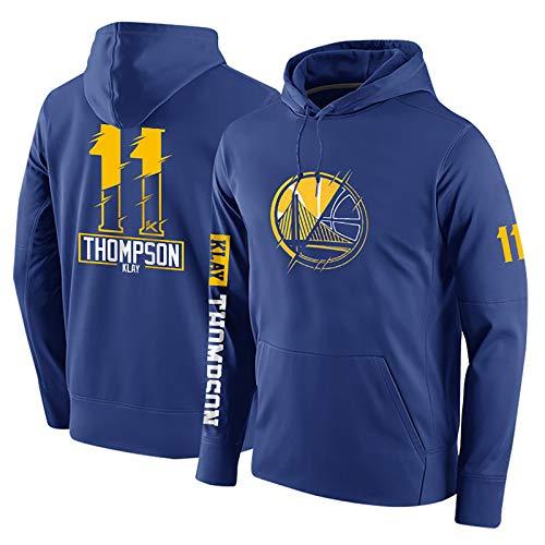 Klay Thompson # 11 Sudadera con Capucha, de Golden State Warriors Hombres Camiseta de Manga Larga con Capucha for niños Baloncesto de Formación (Color : Blue, Size : S)
