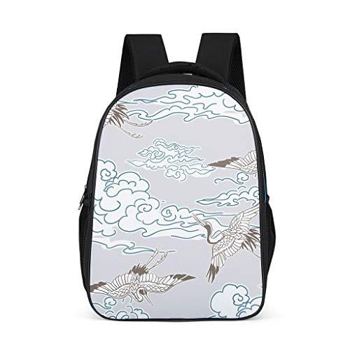Unisex Children's Shoulder Bags Japanese White Crane Art Clouds Children's Backpack School Backpack Large Capacity Backpack Hiking Backpack for Students