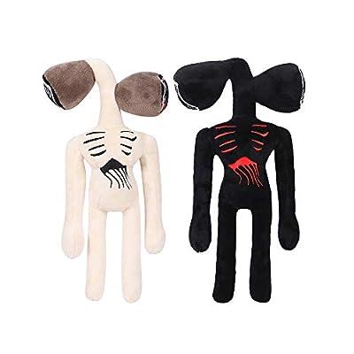12 inches Siren Head Plush Toys Halloween Thanksgiving Christmas Party Boys and Girls Gift (White+Black)