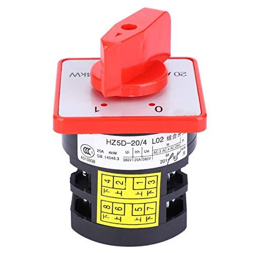 Interruptor selector de cambio, interruptor de cambio de leva de 4KW 20A, resistencia al envejecimiento de 3 posiciones Buen aislamiento para resistencia al desgaste Hz5-20/4 L02