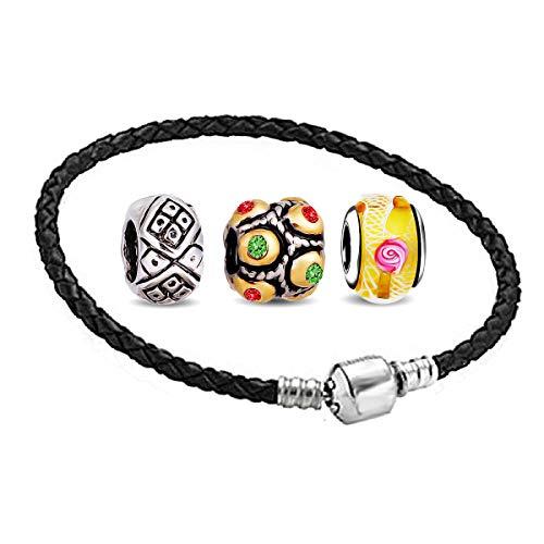 AKKi jewelry Charms Beads Armband und 3 Anhänger Starter Set - Angebot Zirkonia Murano Glas bettelarmband Pandora Style kompatibel Damen Schmuck Geschenk Idee 21cm