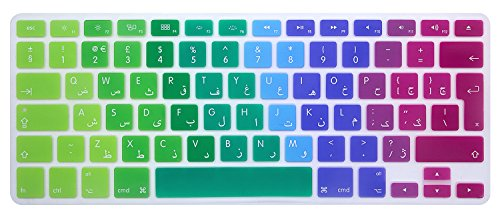 MMDW Arabic QWERTY ISO Keyboard Cover for Macbook Pro 13 15 (with or without Retina Display, 2015 or Older Version) Old Macbook Air 13 Inch European/ISO Keyboard Layout Silicone Skin,Rainbow