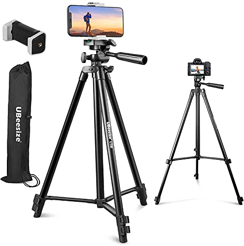 """UBeesize 50"""" Phone Tripod Stand, Aluminum Lightweight Tripod for Camera and Phone, Cell Phone Tripod with Phone Holder and Carry Bag, Compatible with iPhone & Android"""