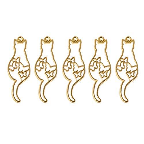 Ocobudbxw 5Pcs Cute Cat Dog Hollow Frames Pendants Bezels Setting Resin Jewelry Making