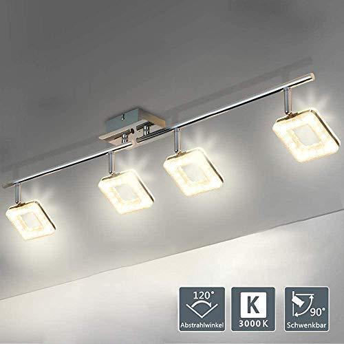 PADMA 20W Led Deckenlampe Küche Einstellbar Warmweiß Silber Modern Deckenleuchte Wohnzimmer 4 Flammig 1600 Lumen für Schlafzimmer Esszimmer Flur Büro