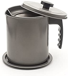 Large 1.7 Qt (almost 7 full cups) Cooking Oil and Bacon Grease Catcher, Container, and Keeper. Perfect As A Pan Grease Holder, Stainless Steel Mesh Strainer Screen