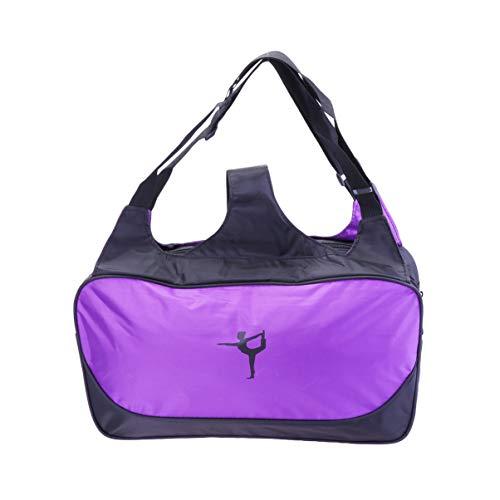 Garneck 1 peça bolsa de tapete para yoga bolsa de transporte grande capacidade esportiva bolsa de pilates tapete para yoga caminhada viagem (roxo sem tapete)