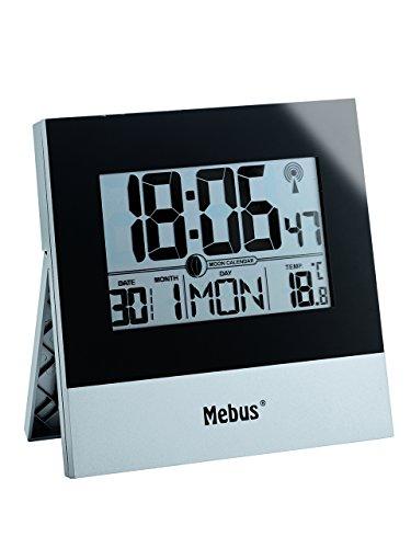 Funk Tisch- Wanduhr in silber/schwarz mit LCD-Anzeige von Uhrzeit, Kalender, Innentemperatur und Mondphase