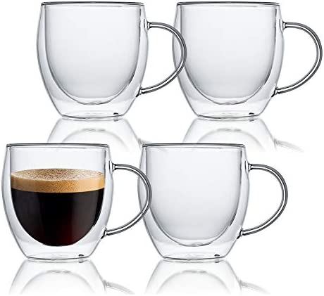 KitchenTour Glassware Espresso Cups Insulating Double Walled Glass Espresso Mugs Set of 4 8oz product image