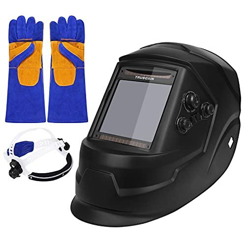 Bomoya Casco da saldatura, regolazione automatica dell'intensità del buio, ampio campo visivo con guanti da saldatura in pelle da 14 pollici, resistente al calore, strumento di protezione