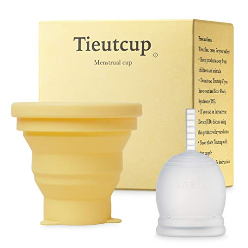 Tieutcup Menstrual Cup - Size Small (32ml) + Collapsible Sterilizer Cup - FDA Registered - Heavy Flow - Reusable Medical-Grade Silicone Period Cup