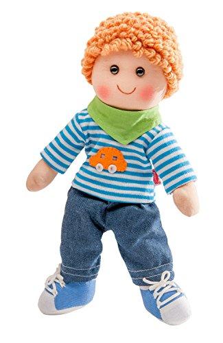 Heless 701 - Weichpuppe Junge Leo, mit Jeans, Streifenshirt und Halstuch, ca. 42 cm groß, zum Kuscheln, Spielen und Liebhaben