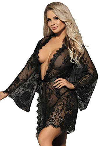 ohyeahlady Vestaglia Kimono Donna Sexy in Pizzo Trasparente Corto Taglie Forti Camicia da Notte Babydoll Hot Pigiama Kimono con Cintura e Perizoma (Nero,3XL)