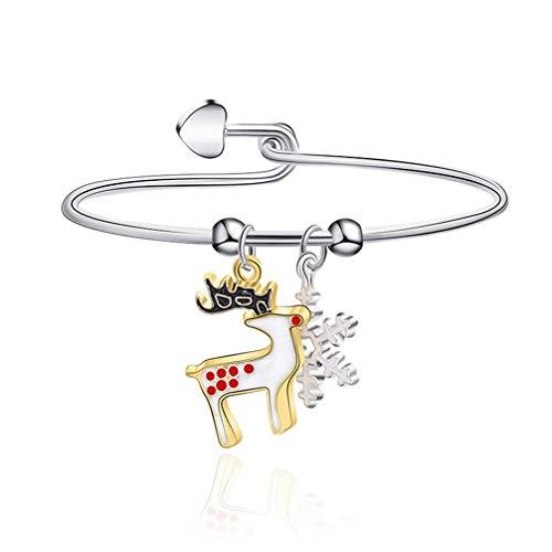 Kyoidy 1pcs Christmas Bracelet Reindeer Santa Candies Christmas Tree Pendant Bangle Female Stylish Accessories Gift,G1190,Style 4