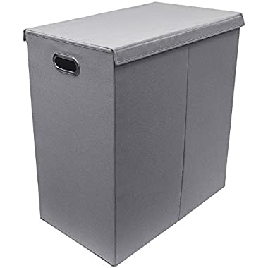 Sorbus Laundry Hamper Sorter with Lid Closure – Foldable Double Hamper, Detachable Lid and Divider, Built-In Handles for Easy Transport - Double (Grey)