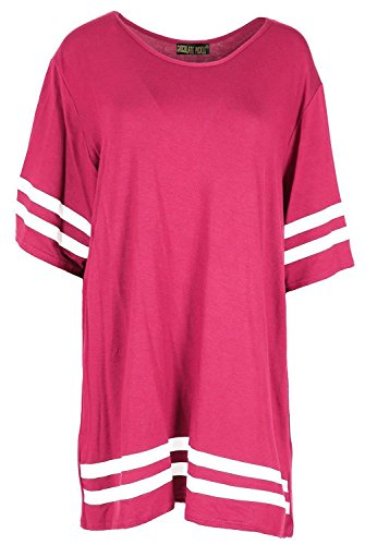 Chocolate Pickle ® Neue Damen Plain gestreifte Baseball Sackartiges-T-Shirts, Cerise, 44-46