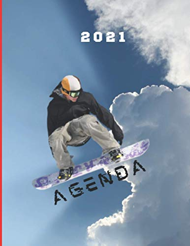 Agenda 2021 : snowboard dans le ciel: Agenda 2021snowboard - sport d'hiver - semainier - journal - planificateur hebdomadaire - idée cadeau - format 17x22 cm 109 pages.