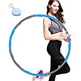 Mistep Hula Hoop for Adults, Weighted Hula Hoop for Exercise, 8 Section Detachable Design Professional Soft Fitness Hoola Hoops (Grey and Blue)