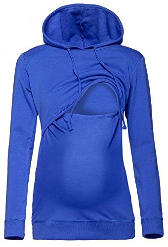 Happy Mama. Damen Kapuzenpullover Stillzeit Top Zweilagiges Sweatshirt. 272p (Königsblau, 44, 2XL)