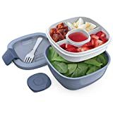 Bentgo Salad BPA-Free Lunch Container with Large 54-oz Bowl, 3-Compartment Bento-Style Tra...
