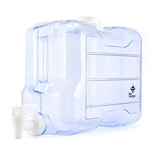 Bar Amigos Wasserbehälter, 5,5 l, für den Schreibtisch, Kunststoff PETG, für Kühlschrank, Getränke, Flüssigkeiten, Getränke, nachfüllbar, Regal, ideal für Büro, Camping, Saft, Getränke, Cocktails