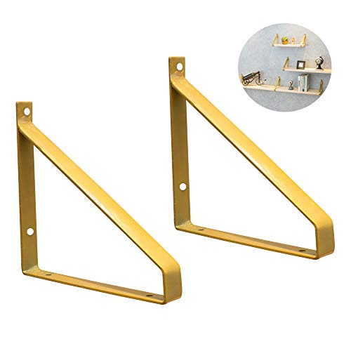 Shelf Brackets Regalhalterung Gold Regalträger Wandmontage Regalhalter Gusseisen 200mm Regalwinkel...