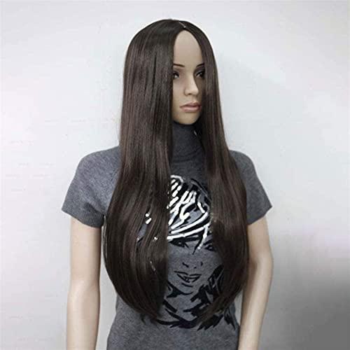 Pelucas para mujer Largo recto ombre natural ombre color mezclado raíces oscuras pelucas frontales de encaje 130% densidad resistente al calor Pelo de fibra sesprés 24 pulgadas (color: blanco)