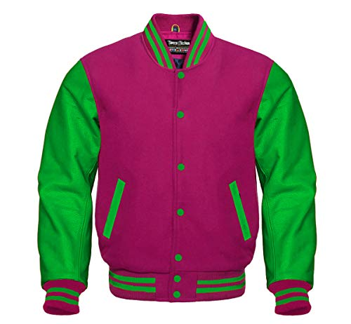Varsity Hot Pink Wool and Genuine Green Leather Sleeves Letterman Jacket (L, Hot Pink/Green)