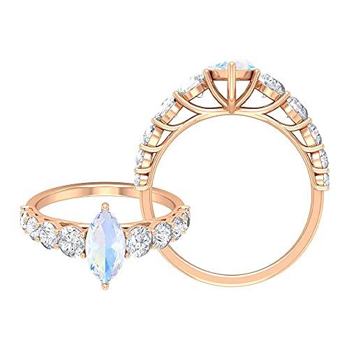 Anillo de compromiso solitario de piedra lunar arco iris de corte marquesa de 5 x 10 mm, anillo de compromiso de moissanita (calidad de reliquia), oro rosa de 14 quilates, tamaño: UK J