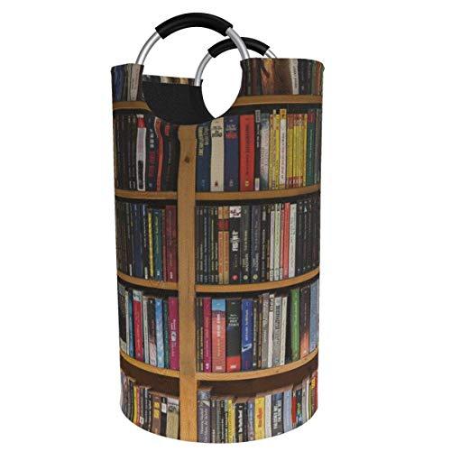 N\A 82l Large Laundry Basket, Library Bookshelf Collapsible Fabric Laundry Hamper, Foldable Clothes Bag, Folding Washing Bin Storage Basket