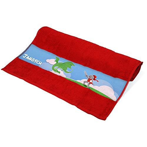 Eurofoto Handtuch mit Namen Janosch und Motiv mit Ritter und Drache für Jungen | Kinder-Handtuch Bedruckt | Farbe: Rot | 50 x 100cm