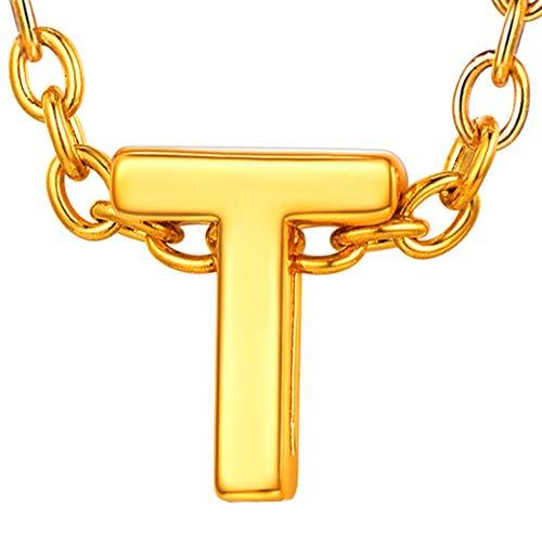 U7 イニシャルネックレスT レディース 18金メッキ ゴールド ペアネックレス シンプル 小さめ 鏡面 おしゃれ 大人可愛い アクセサリー 母の日プレゼント