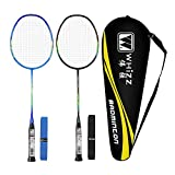 Whizz Badminton Rackets 100% Graphite with Carrying Bag 2 Grips, Set of 2