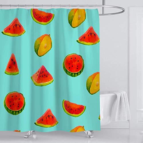 EdCott Niedliche Wassermelone Sommer Obst Mango Duschvorhang grün rot blau frisch wasserdicht &urchsichtig geschmacklos Dekoration Raumdekoration nach Hause leicht zu Duschvorhang waschen