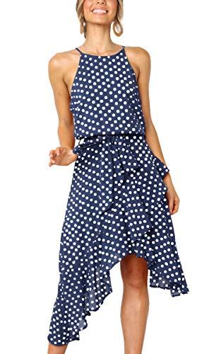 ECOWISH Womens Polka-dot Laced Irregular Cocktail Dress Sleeveless Neckholder Sexy Sundress Blue L