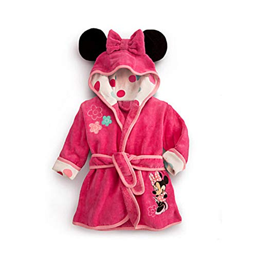 LOKKSI - Albornoz unisex con capucha, pijama de franela esponjosa para niños de 1 a 6 años, diseño de tigre de sirena, color rosa