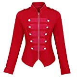 Womens Gothic Steampunk Ringmaster Jacket Zip Up Military Blazer Coat Red Size L