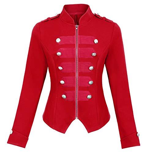 Womens Gothic Steampunk Ringmaster Jacket Military Blazer Coat Red Size L