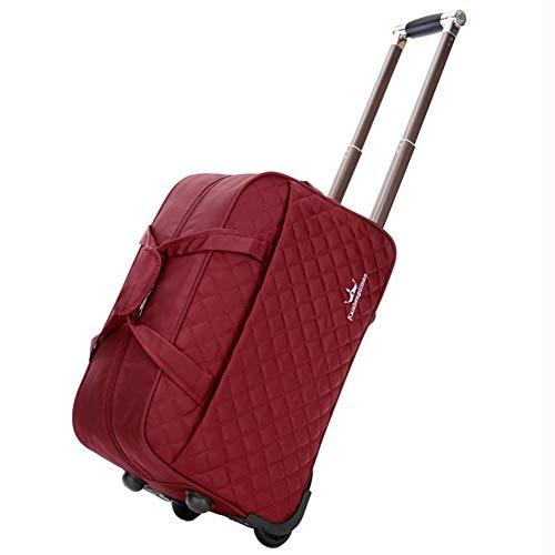 ZHANGQIANG Handgepäck Kleiner Trolley Koffer Gepäck Damen Reisetasche Taschen Handgepäck Damen Weekend Trolley Handtasche Handgepäck Trendstar (Farbe : Weinrot, größe : 49 * 27 * 30cm)