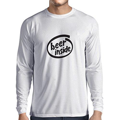 Langarm Herren t Shirts Bier innen - für Bierliebhaber, lustiges Logo, humorvolles Geschenk, Kneipe, Bar, Party-Kleidung (X-Large Weiß Schwarz)