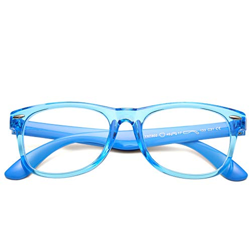 COASION Kids Blue Light Blocking Glasses TPEE Rubber Flexible Soft Computer Eyeglasses Frames for Children Age 3-9(Clear Blue)