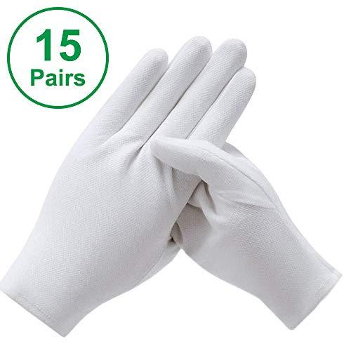 15 Paar Baumwollhandschuhe Weiß, 21 x 9 cm Baumwolle Handschuhe Stoff Handschuhe, Bequem und Atmungsaktiv Arbeitshandschuhe für Hautpflege, Schmuck Untersuchen, Tägliche Arbeit (L)