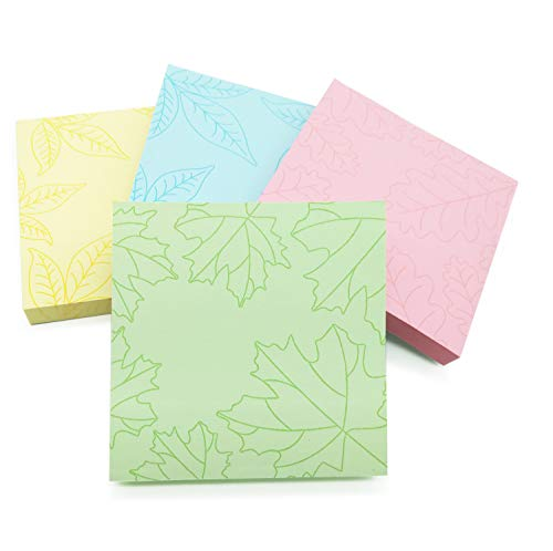 """ZGPEPEXIA Coloured Sticky Notes 2.87""""×2.87"""" Self-Stick Notes 4 Pastel Color, 8 Pads/Pack, 80 Sheets/Pad (Leaf Patterns)"""