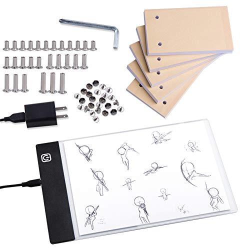 Neeho - Juego de libro con tapa de luz, caja de luz LED para dibujo y trazado con 300 hojas de papel de animación, luz LED para trazar folios de papel con tornillos de encuadernación