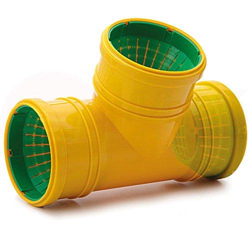 Tube de drainage coudé en T - 50 mm de diamètre - Bouchon ou réducteur de 72 à 100 mm de diamètre - tube de fond de canal haute température - Clapet anti-retour - 45 °, 67 °, 90 °, T-Stück, 3x Dränage Anschluss Ø 72 - 100 mm (MKK-14)