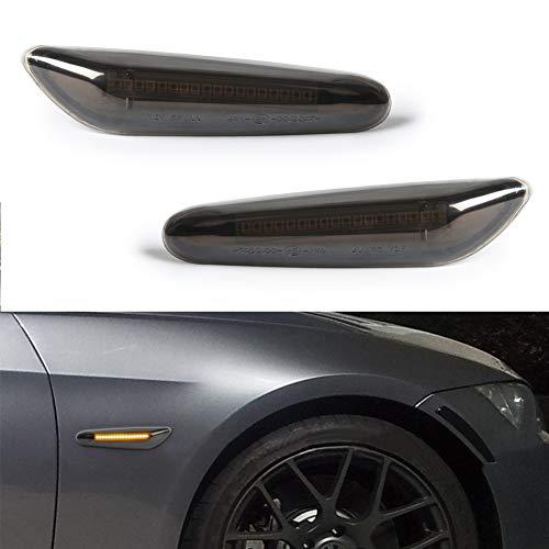 GemPro 2-Pack Amber LED Side Marker Turn Signal Light For BMW E90 E91 E92 E93 E46 E53 X3 E83 X 1 E84 E81 E82 E87 E88, Smoke Lens Style Black
