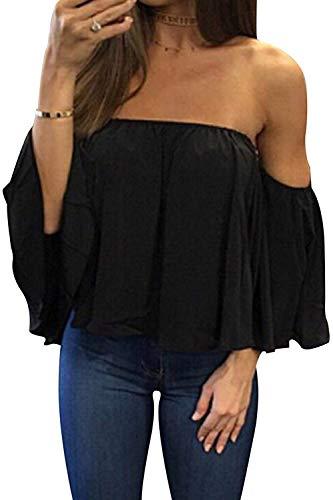 Bluetime Women Summer Off Shoulder Chiffon Blouses Ruffles Short Sleeves Sexy Tops Casual T Shirts (L, Black)